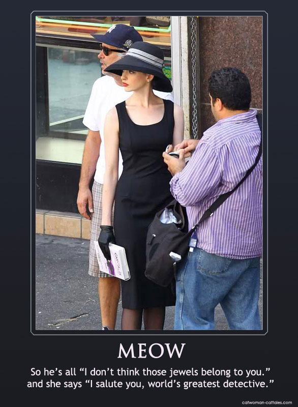 Anne Hathaway as Selina Kyle on the set of the Dark Knight Rises