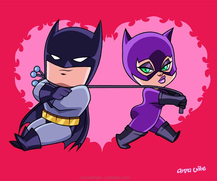 Chibi Batman and Catwoman in 'Bat Romance' by Anya Uribe