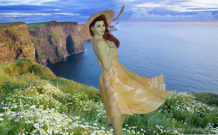 Ivy's Holiday: Poison Ivy in a yellow dress overlooking a beautiful vista in Hawai
