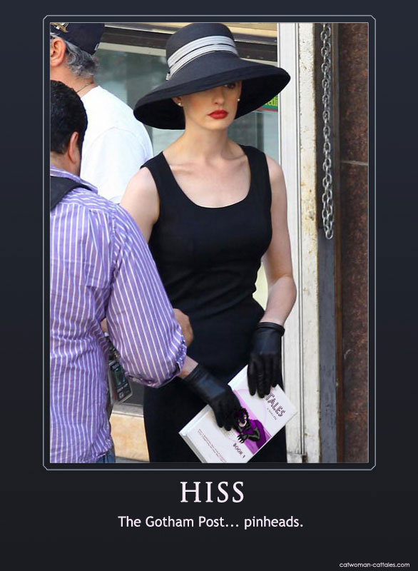 Anne Hathaway looking chic and elegant as Selina Kyle on the set of The Dark Knight Rises