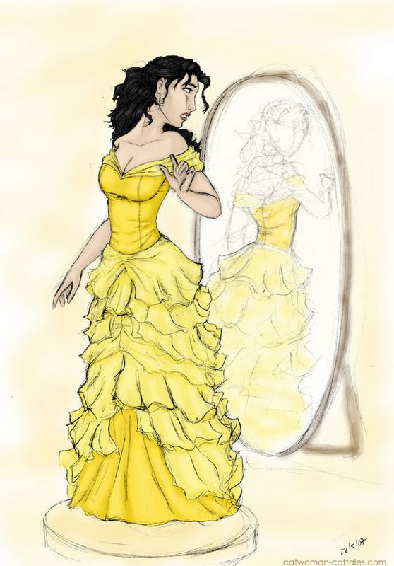 Selina in the infamous bridesmaid dress of yellow ruffles