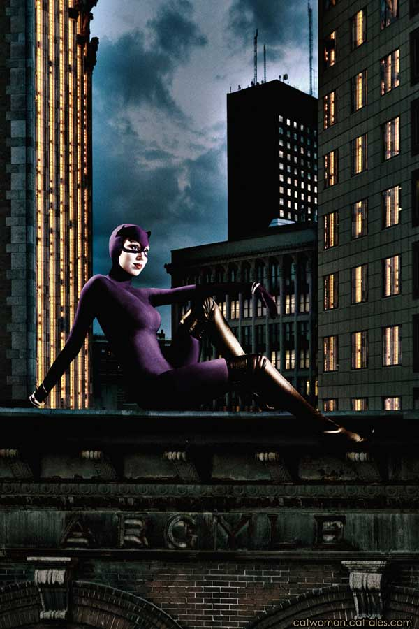 Catwoman on a Gotham Rooftop