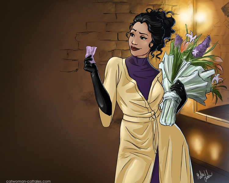 The Justice League sends flowers to Selina's dressing room during the run of Cat-Tales