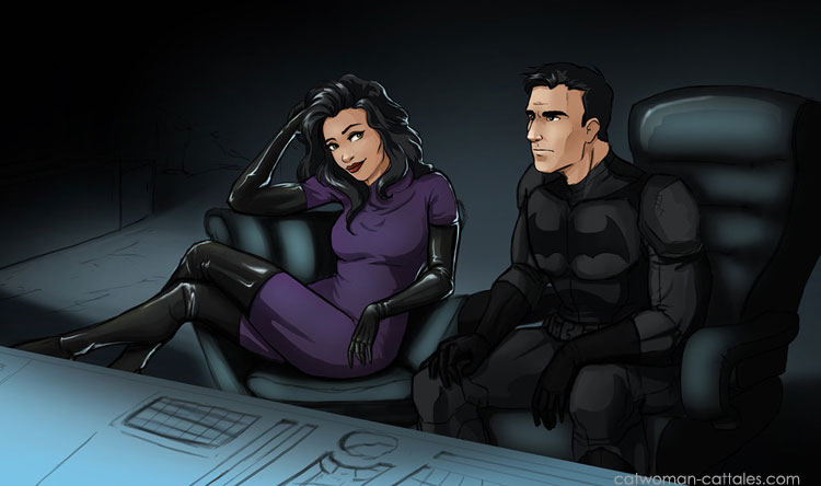 Bruce and Selina in the Batcave, on a case.